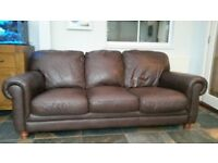 Brown leather sofa 3 seat and 2 seater
