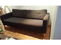 IKEA KARLSTAD Black Three Seater Sofa Good Condition