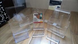 Clear Plastic/Acrylic Document holders, Various Sizes, 8 pieces