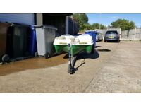 10 ft 4 man cathederal hulled unsinkable dory type boat pike fishing and snipe trailer