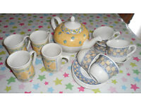 Jeff Banks of London Port Of Call Teapot with matching mugs plus Churchill cups and saucers!