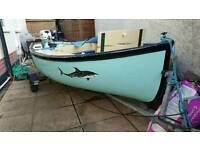 Fishing boat with 6hp four stroke engine