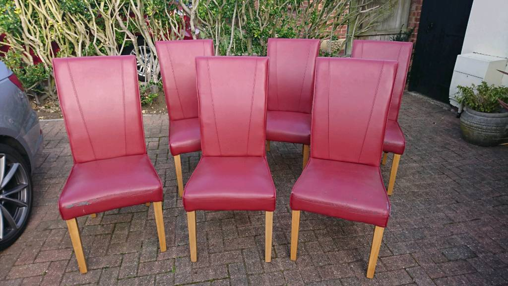 Set Of 6 Red Faux Leather Dining Chairs