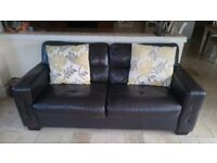 3 + 2 Brown Leather Sofa with footstool