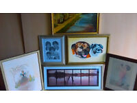 Framed Pictures / Mirror / Fire Screen & Wall Art Over 25 Items . Large Oil on Canvas Old Frame