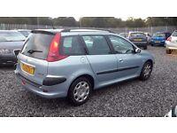 Peugeot 206 1360cc Petrol, ESTATE, MANUAL, BLUE, 2004, MOTExpires: 28 August 2017