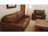 Tan leather 3 seater sofa and chair