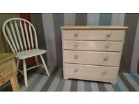 Farmhouse cottage shabby chic chest of drawers solid wood pine