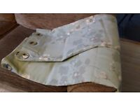 Contemporary eyelet topped curtains, Green/grey and floral 62in wide x 54ins drop. £5
