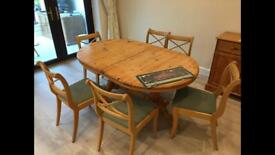 Extendable table and 6 x chairs