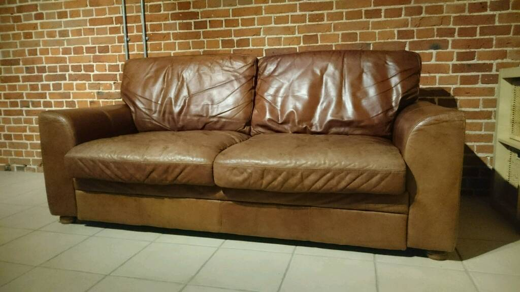 Vintage Tanning Company Aniline Leather Three Seater Sofa Settee