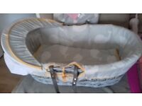 Grey baby moses basket without stand