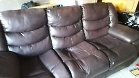 3 Seater Brown Leather Reclining Sofa