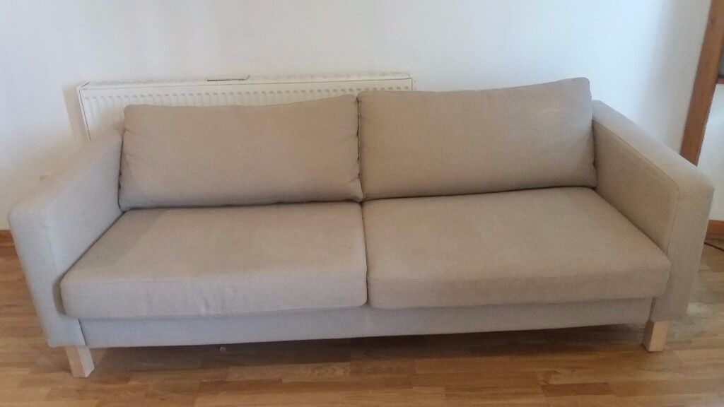 Three seater sofa FREEin Leith, EdinburghGumtree - Three seater sofa, 84 inch long, natural colour, no stains or damage. Left in flat when I moved in. Free for pick up