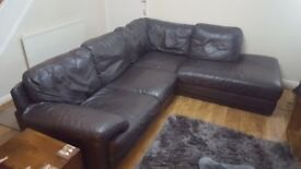Leather settee L shape