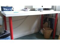 White desk with red legs ikea , ad new