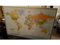 Pinboard Map of the World, 90 x 60 cm, includes a box of 100 flag pins