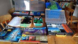 two k'nex roller coaster kits++ in plastic sorting/storage boxes - reduced price