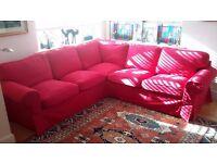 IKEA Ektorp EKTORP Sectional, 4-seat corner, Nordvalla red + Extra cover Mobacka Beige