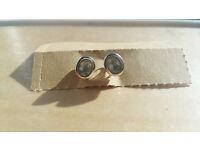 Vintage sterling silver & white topaz stud earrings