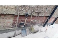 **GARDEN TOOLS**ROLLER**FORK**SHOVEL**PICK AXE**RAKE**ETC**ALL METAL AND SOLID**£10 EACH**BARGAIN!!!