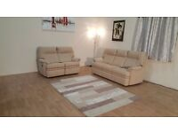Ex-display P.K. Seattle natural striped fabric 3 seater sofa and manual recliner 2 seater sofa