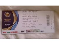 England v New Zealand ICC Trophy 2017 tickets x6 all seated together