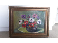M cowie oil painting flowers picture framed signed