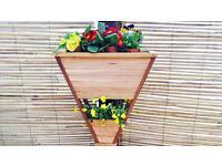 Handmade Cherry & Oak V Double Planter