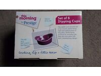 Brand new in box 'This Morning by Prestige' set of 6 dipping cups in purple