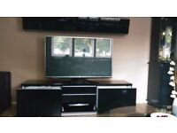 Black Gloss TV stand with storage (IKEA)