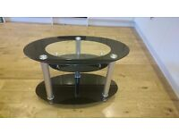 Glass TV stand with shelves for set top box and DVD player