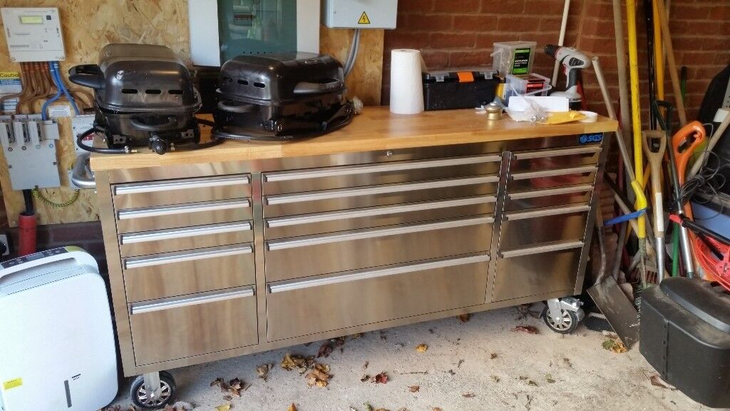 72 Quot Stainless Steel 15 Drawer Work Bench Tool Chest