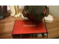 Focusrite Scarlet Audio Interface with headphones