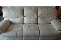 3 Piece Leather Recliner Sofa...