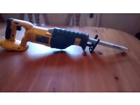 Used Dewalt DC385 XRP 18 V Reciprocating saw, with two blades, see photos & details