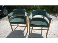 Office chairs, with green upholstery