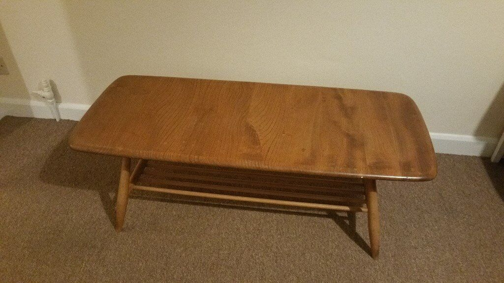 Ercol Windsor Coffee Table With Magazine Rack In Golden Dawn Excellent Used Condition