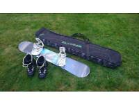 K2 160cm snowboard with bindings, boots and Dakine bag