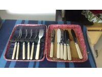 vintage fish knives & forks set in box