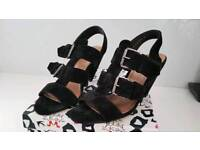 Kurt Geiger Black Suede Ladies Court Shoes