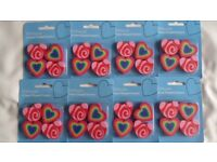 Party Bag / Xmas Stocking Fillers - 10 x Pks of 4 Heart Shape Erasers,