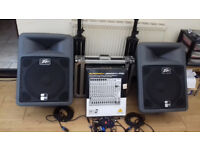 Full PA system Peavey Speakers & Amp & New boxed Behringer mixer