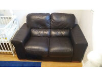 BROWN,LEATHER 2 PERSON SOFA