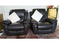 BARGAIN dark brown LEATHER SOFA AND TWO CHAIRS