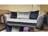 VALENTINA 3+2 BRAND NEW 2 TONE BLACK/SILVER CRUSH VELVET FABRIC SOFA £499 STUNNING QUALITY