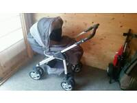 Silver Cross Ventura Pram and car seat with isofix base