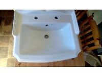 Pure white large Victorian style 2 tap basin and pedestal