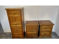 Solid Hard Wood Tall Chest of Drawers with 2 matching Bedside Cabinets