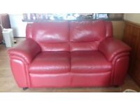3 seater and 2 seater red leather couches for sale good condition £150 ono